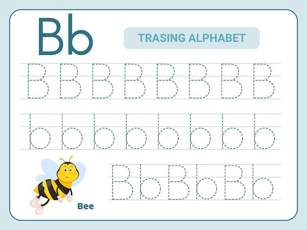 Praktyka śledzenia alfabetu w arkuszu z literą b.
