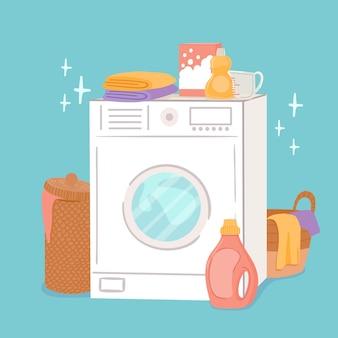 Pralka i pranie. pralka do kreskówek, kosze na pościel i środki czystości, mydło w proszku i odżywka. koncepcja wektor prania odzieży. ilustracja pralka do prac domowych