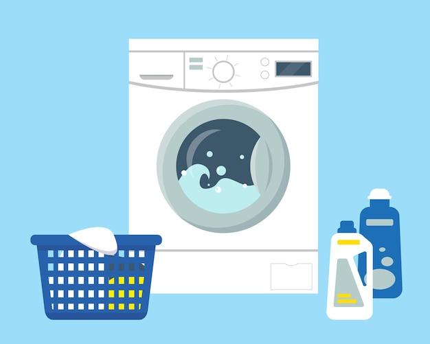 Pralka z proszkiem i środkiem czyszczącym, kosz z brudną odzieżą do prania.