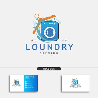 Pralnia logo i etykieta pralka pralka dobre dla ilustracji wektorowych logo firmy