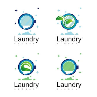 Pralnia logo projekt wektor