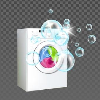 Pralnia maszyna sprzęt do domu umyć ubrania wektor. pranie w pralce z bąbelkowym płynnym proszkiem, elektroniczne urządzenie gospodarstwa domowego. szablon sprzątania realistyczna ilustracja 3d