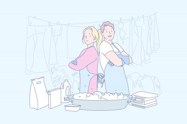 Pralnia, pomoc, biznes, serwis, sprzątaczka, ilustracja.