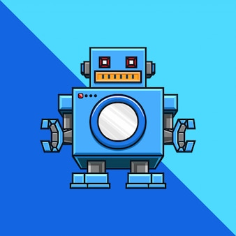 Pralnia, pralka, pralka, szablon logo firmy robot.