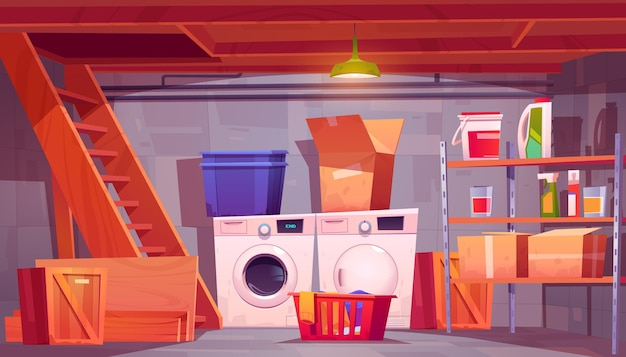 Pralnia w piwnicznym wnętrzu piwnicy z pralko-suszarkami detergenty na półkach
