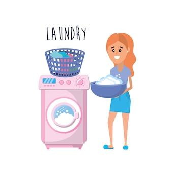 Pralniany wyposażenie i kobieta robi domowej robocie