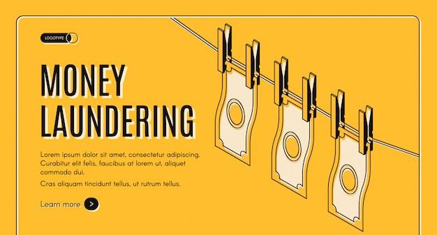 Pranie brudnych pieniędzy machinacje sieci izometryczny wektor banner lub szablon strony docelowej.