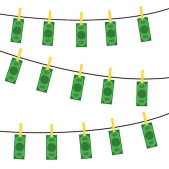 Pranie brudnych pieniędzy tło wzór koncepcja brudne waluty banknotów płaska konstrukcja stylu. ilustracja wektorowa