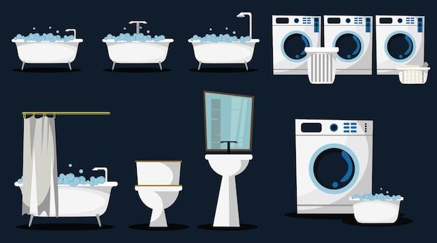 Pranie i kąpiel zestaw ilustracji wektorowych