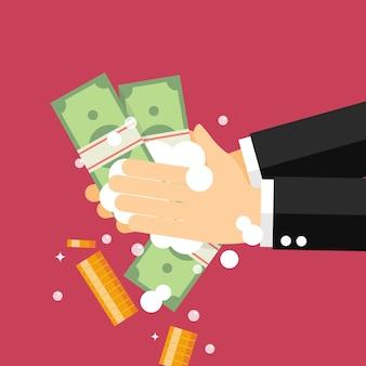 Pranie pieniędzy. biznesmen pierze nielegalnie zarobione pieniądze.