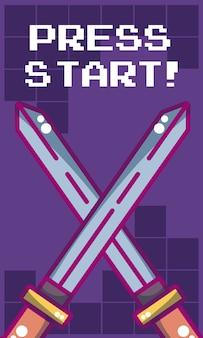 Prasa początku gra wideo sztandar z kordzikiem krzyżującym wektorowym ilustracyjnym graficznym projektem