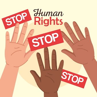 Prawa człowieka z podniesionymi rękami i projekt banerów stop, protest manifestacyjny i temat demonstracji