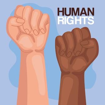 Prawa człowieka z projektowaniem pięści w górę, manifestacją protestu i ilustracją tematu demonstracji