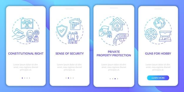 Prawa do broni ciemnoniebieski ekran strony wprowadzającej aplikację mobilną z koncepcjami. przepisy dotyczące broni. przewodnik po przepisach dotyczących broni palnej szablon interfejsu użytkownika w 5 krokach z kolorowymi ilustracjami rgb