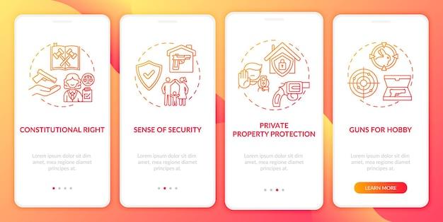 Prawa do broni czerwony ekran wprowadzający aplikację mobilną z koncepcjami. przepisy dotyczące broni. opis przepisów dotyczących broni palnej 5 kroków. szablon ui z kolorem rgb