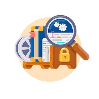 Prawa własności intelektualnej. koncepcja praw autorskich do oprogramowania, książek, filmów, patentów itp. ochrona prawna patentu i licencjonowania. ilustracji wektorowych