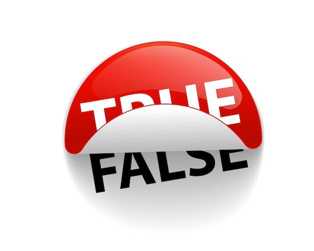 Prawda i fałsz kreatywna etykieta naklejki