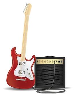 Prawdziwa czerwona gitara elektryczna ze wzmacniaczem gitarowym