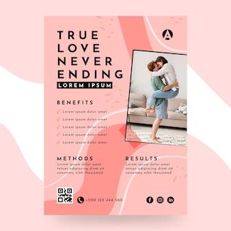 Prawdziwa miłość nigdy nie kończący się szablon ulotki