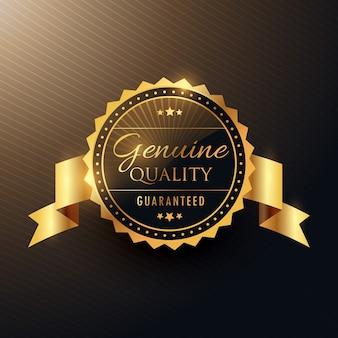 Prawdziwa nagroda jakości golden label design znaczek z wstążką