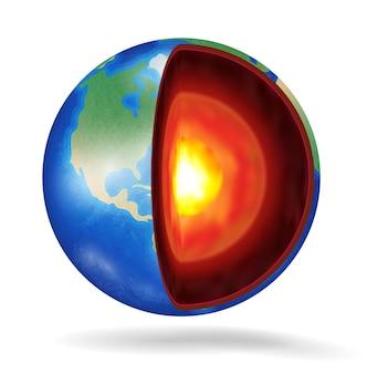 Prawdziwa planeta struktura ziemi na białym tle
