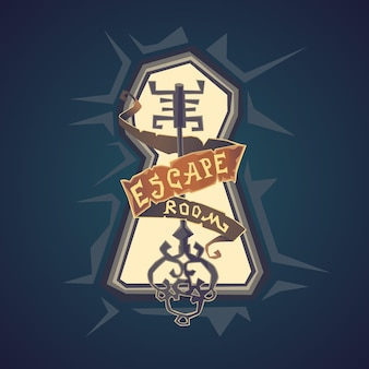 Prawdziwa ucieczka z pokoju. logo pokoju questowego w stylu kreskówkowym.