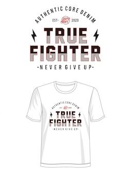 Prawdziwa wojownik typografia do koszulki z nadrukiem