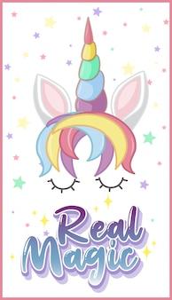 Prawdziwe magiczne logo w pastelowym kolorze z uroczym jednorożcem i gwiazdkowym konfetti