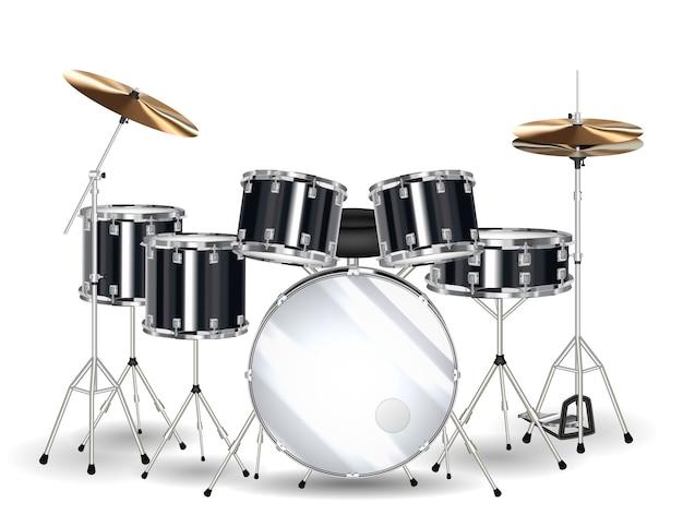 Prawdziwy czarny zestaw perkusyjny na białym tle