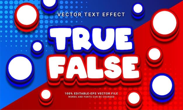 Prawdziwy fałszywy edytowalny efekt tekstowy 3d w kolorze niebieskim i czerwonym