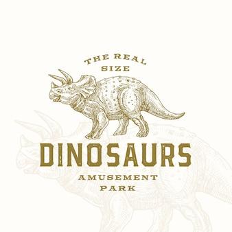 Prawdziwy rozmiar dinozaurów park rozrywki abstrakcyjny symbol znaku lub logo