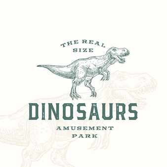 Prawdziwy rozmiar dinozaurów park rozrywki streszczenie znak, symbol lub szablon logo.