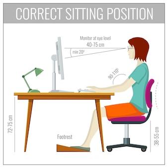 Prawidłowa postawa siedząca kręgosłupa przy komputerowym pojęciem zapobiegania zdrowiu
