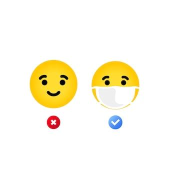 Prawidłowe i nieprawidłowe noszenie maski. emoji z ikona ilustracja maski usta. żółta twarz z zamkniętymi oczami w białej masce chirurgicznej. wektor eps 10. na białym tle.