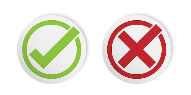 Prawidłowy i nieprawidłowy znak, styl naklejki znacznik wyboru