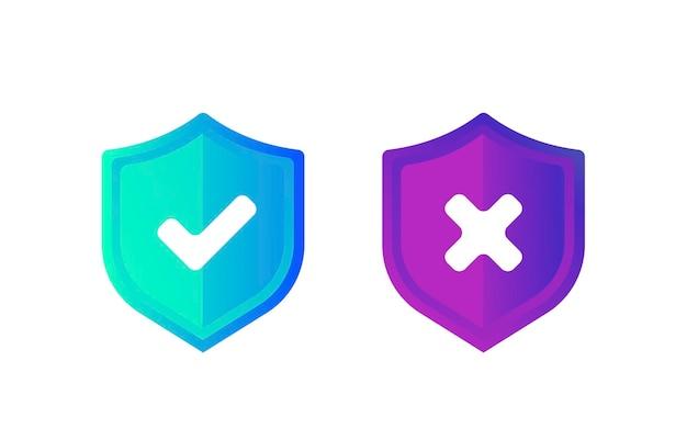 Prawidłowy niepoprawny znak zestaw ikon znaku dobrego i złego zielony kleszcz i czerwony krzyż płaski symbol sprawdź ok tak nie x znaków dla sieci decyzji głosowania prawda fałsz pole wyboru sprawdź znak ilustracja wektorowa