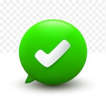 Prawidłowy symbol 3d minimalne zielone bąbelki czatu na przezroczystym tle