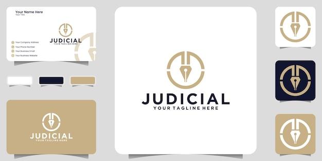 Prawne logo pióra sprawiedliwości i ikona wizytówki