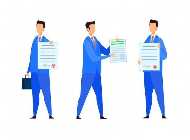 Prawnik, asystent notariusza wektor zestaw znaków