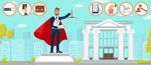 Prawnik superman firma prawnicza pomnik wektor mieszkanie.