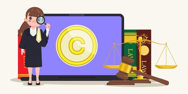 Prawo autorskie patentowe z młotkiem prawniczym i tłem książek prawniczych