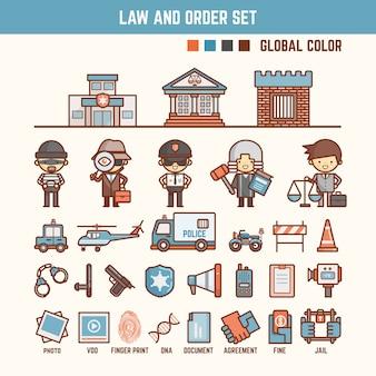 Prawo i porządek elementy infographic dla dzieci