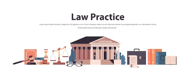 Prawo i sprawiedliwość zestaw sędzia młotek książki wagi ikony sądu kolekcja pozioma kopia przestrzeń ilustracji wektorowych