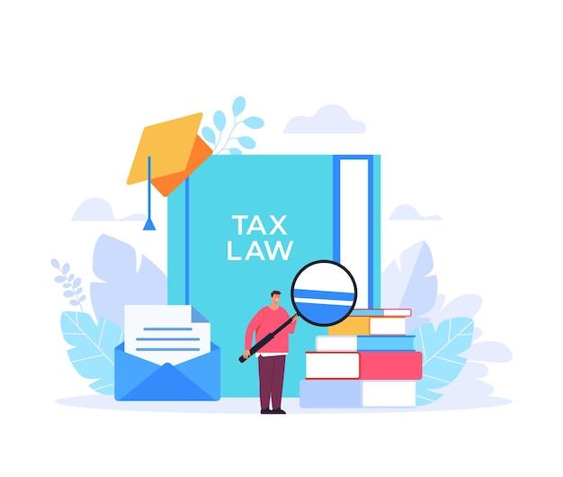 Prawo podatkowe nauka wyszukiwania koncepcja edukacji płaska projekt graficzny ilustracja