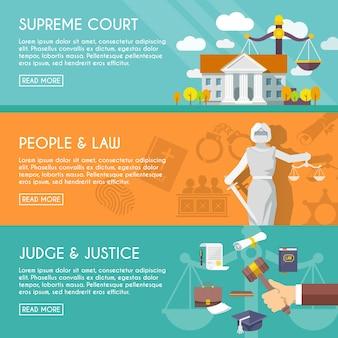 Prawo poziome banery płaskie