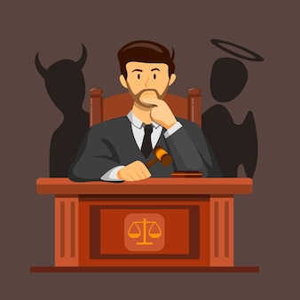 Prawo sędziego mylące podejmowanie decyzji z koncepcją diabła i anioła sylwetka na ilustracji kreskówka