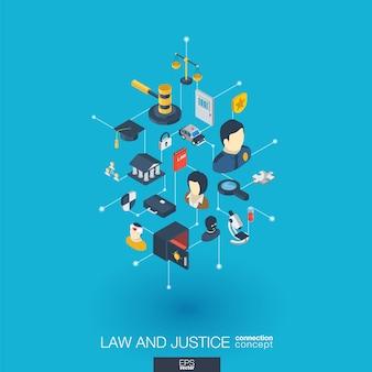 Prawo, sprawiedliwość zintegrowane ikony internetowe. koncepcja interakcji izometrycznej sieci cyfrowej. połączony graficzny system kropkowo-liniowy. streszczenie tło whith prawnik, przestępstwo i kara. infograf