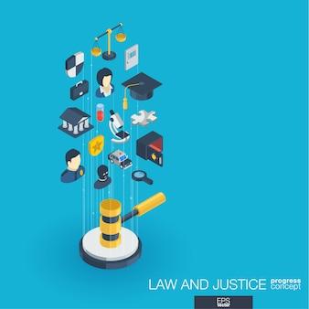 Prawo, sprawiedliwość zintegrowane ikony internetowe. koncepcja postępu izometrycznego sieci cyfrowej. połączony system wzrostu linii graficznych. streszczenie tło whith prawnik, przestępstwo i kara. infograf