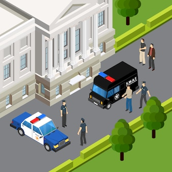 Prawo systemu sprawiedliwości isometric skład z podejrzanym przestępstwem aresztuje funkcjonariusz policji sceny lata plenerową wektorową ilustracją