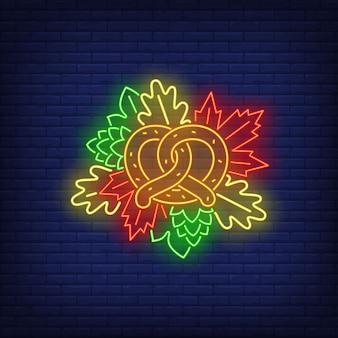 Precel i jesienne liście neon znak